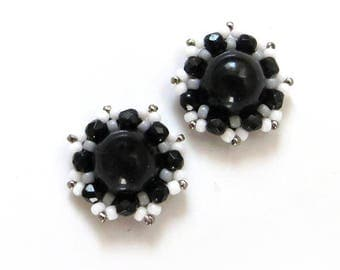 Small Black and White earrings, handmade stud earrings, Black and White Jewelry, snowflakes earrings, black white clip on earrings