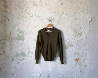 Vintage Army Sweater - Army Pullover - Military Sweater Green Small Distressed Henley