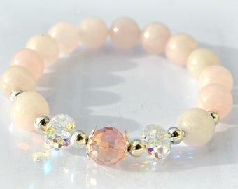 Pink Quartz Bracelet Women Natural gemstone bracelet Beaded bracelet rose bracelet Gift for Her Swarovski crystals