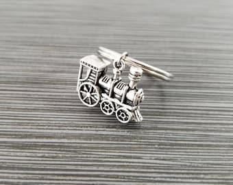 Train Keychain - Custom Gift - Silver Keychain - 3D Train Key chain - Initial Keychain - Best Friend Gift - Train Keyring -