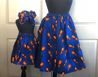 Blue Orange African Drops Mommy and Me Ankara Skirts, Mothers Day, Head Wraps, Ladies Skirt, Girls Skirt, African Clothing, Girls Clothing