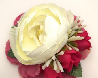 Handmade Ivory Peony, Carnation & Rose Hair Flower Miss Bella's Blooms