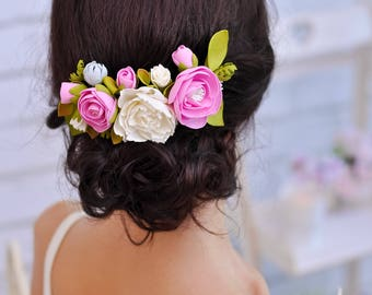 Spring Wedding flower hair comb Wedding sash Bridal hair comb Wedding hairpiece Bridal belt Wedding dress sash floral hair clip Rose comb