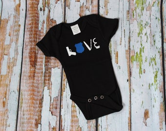 LOVE Police Baby Onesie - Law Enforcement - Thin Blue Line- Back the Blue - American Flag - Blue Lives Matter - Police - Creeper Bodysuit