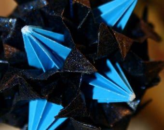 Origami Kusudama Blue Black Witch Spike Ball Hanging Ornament