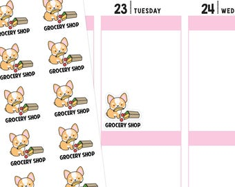Grocery Shop Planner Stickers, Grocery Shop Stickers, Grocery Stickers, Shop Stickers, Food Stickers, Corgi Stickers
