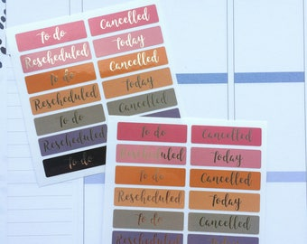 Label Stickers for ECLP, Foil Labels, Planner Headers, Foil Planner Labels, Pastel Label Stickers, Black Foil Labels