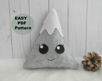 PDF Mountain pillow Hand Sewing Pattern Felt Mountain Pattern Kawaii Mountain Softie Pattern Mountain nursery decor DIY project