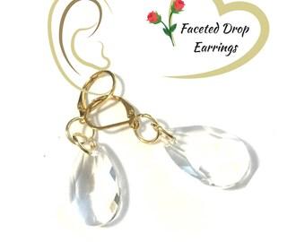 Shimmering Glass Earrings, Faceted Clear Glass Earrings, On Trend Earring, Pretty Party Earring, Student Gift,Earrings Silver