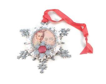 Christmas Tree Ornament, Marie Antoinette, Snowflake, Package Topper,  Christmas Ornament, Christmas Decor, Christmas Decoration, Handmade