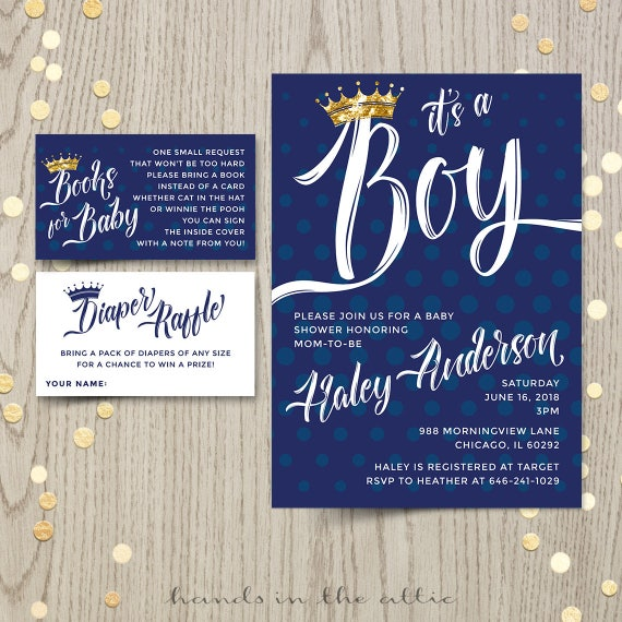 Prince baby shower invitation navy and gold baby shower boy il570xn filmwisefo