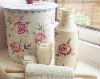 Rolling pin~mini~decoupage~wedding idea~engagement~Emma Bridgewater~home~gift for her~fun~married~hen party~collector~fan~flora