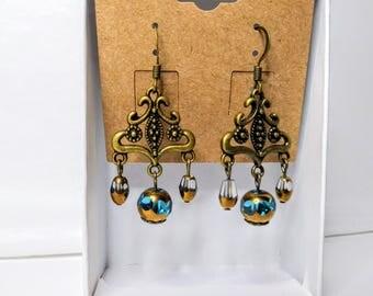 Bronze Czech Glass Earrings