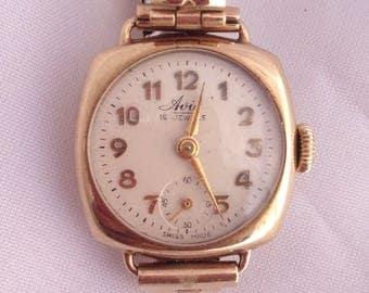 9CT gold watch, Avia gold watch, Vintage 1960s watch, Womens watch, collectible watch, gold swiss watch, ladies gold watch