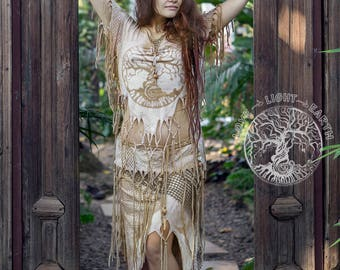 Cappuccino skirt&top set.  Fairy clothing...Goa style...Tribal...Tree of life...beige color set...brown...Boho...