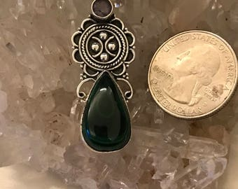 Malachite and Amethyst Pendant Necklace