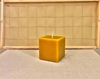 100% Pure Beeswax Pillar Candle // Square // All Natural