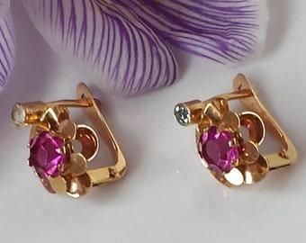 Vintage 18k Buttercup Drop Earrings Vintage Rose Gold 18k Dangle Earrings 19k Portuguese Gold Earrings