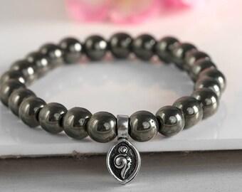 Pyrite Bracelet, Hippie Bracelet, Women Men Beaded Bracelet, Boho Bracelet, Stack Bracelet, Charm Bracelet