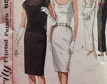 Vintage 1960s Evening Dress and Overblouse Sewing Pattern - Simplicity 5020 - Bust 34