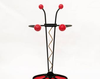 RARE Vintage French Red and Black Atomic Umbrella Stand, Cast Iron, Brass, Wood, Retro, Stick Stand, Midcentury, Entryway, Mud Room