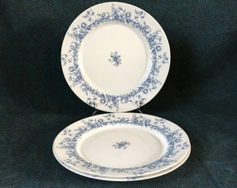 Vintage Arcopal Glenwood Blue Floral Dinner Plates, Set of 3