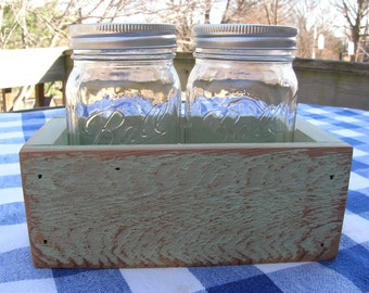 Centerpiece Box - Light Sage Green - Rustic Cedar Mason Jar Holder - Organizer, Caddy, Table Centerpiece