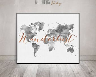Travel map wall art world map watercolor poster world map wanderlust world map watercolour print travel map large world map grey color gumiabroncs Gallery
