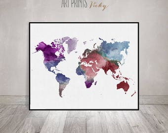 large world map poster, colorful world map print, world map watercolor, travel map, world map, home decor wedding guest book ArtPrintsVicky.