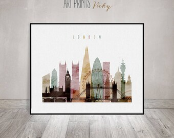 London Print Watercolor Skyline Poster | ArtPrintsVicky.com