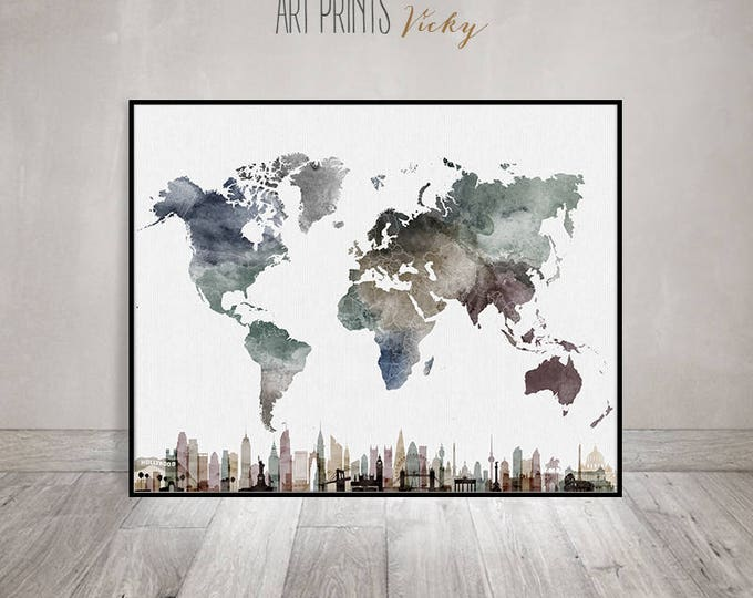 unique world map watercolour print | ArtPrintsVicky.com