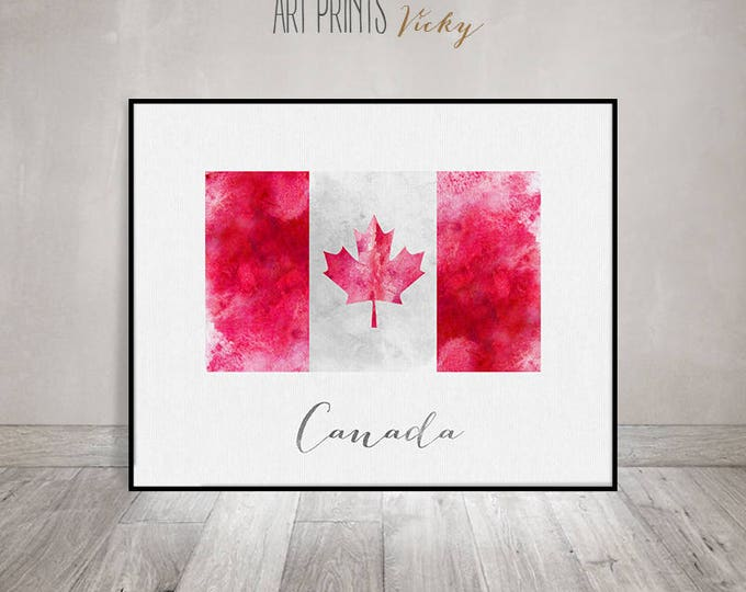 Canada flag print, art poster, watercolor, Wall art, Canada art, watercolor flag, typography, office decor, Home Decor, Gift, ArtPrintsVicky