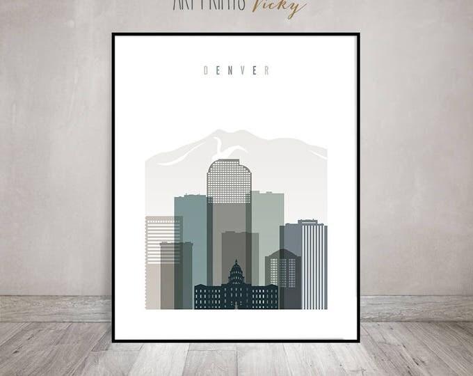 Denver art print,  Denver Wall art, Denver skyline art, Travel decor, housewarming gift, Colorado cityscape, travel gift, ArtPrintsVicky