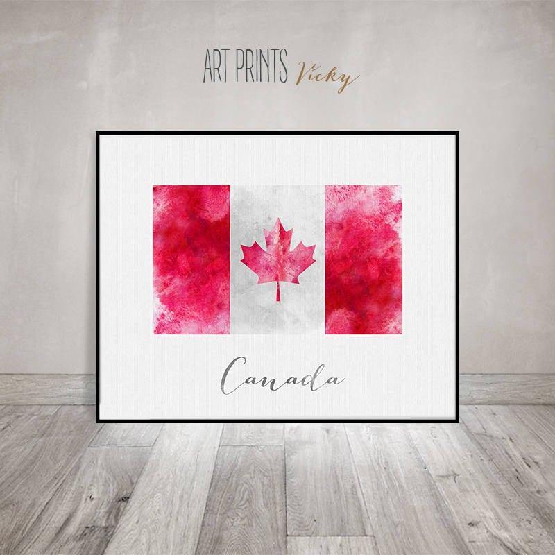 Canada Flag Print Art Poster Watercolor Wall Art Canada Art Watercolor Flag Typography