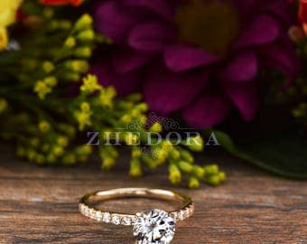 Yellow Gold Engagement Ring , 14k/18kYellow Gold Wedding Ring, Round Simulated Diamond Engagement Ring, Gold Bridal Ring