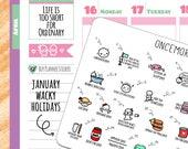 Wacky Holidays - January 2018 Planner Stickers (2018 - W01)