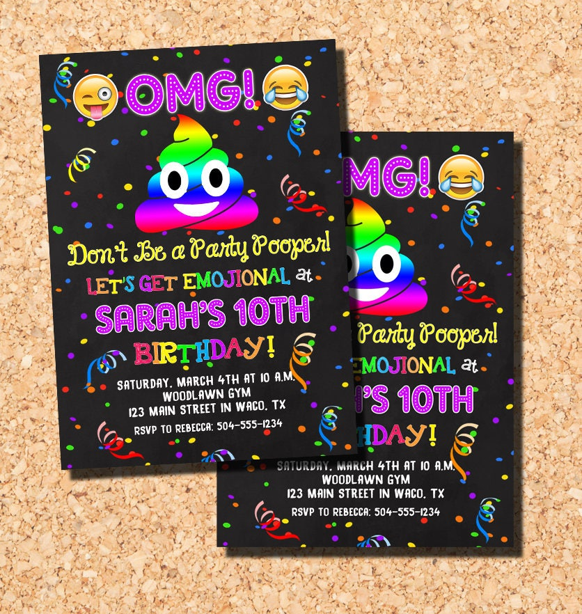 Emoji Invitations Birthday Poop