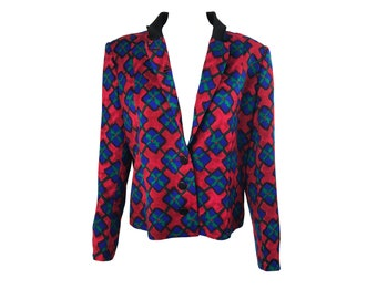 PIERRE BALMAIN Vintage 1980s Jacket with  Red and Blue Print SZ FR40