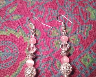 Pink Cats Eye Earrings & Swarovski Crystal