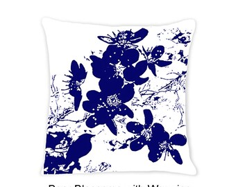 Blue - Birds and Blossoms Decorative Indoor Throw Pillow 14x14 - Navy Blue and White
