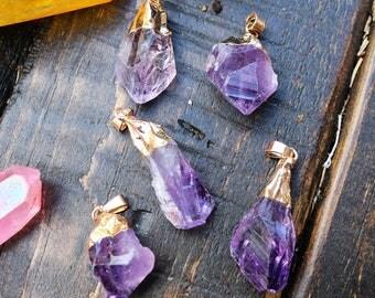 amethyst pendant, raw amethyst, hand cut amethyst, gold edged pendant, natural gemstone, raw gemstones, 15mm-35mm,