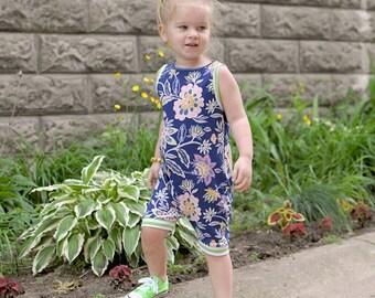 baby romper, toddler romper, baby girl romper, floral romper, navy blue romper, lime green romper, pink floral romper, girl romper, NEVE