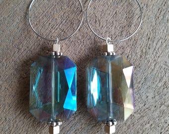 Large Rectangular Crystal Earrings