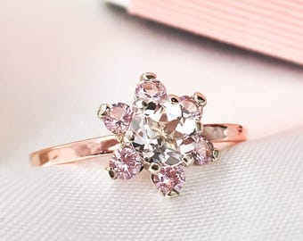 Diamond Cluster ring, Herkimer Diamond & Morganite ring, 9ct Rose gold ring, Cluster ring, 9ct solid Rose Gold Handcrafted ring.
