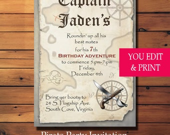 Pirate Birthday Invitation, Pirate Party Invitation, Boy Birthday Invitation, Instant Download, Editable PDF, Pirate Birthday, Pirate Party