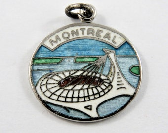 Enameled Olympic Stadium Montreal Canada Sterling Silver Charm of Pendant.