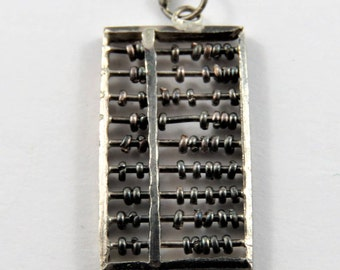 Mechanical Abacus Counting Tool Sterling Silver Charm or Pendant.