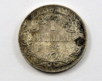 South Africa 1897 Sterling Silver One Shilling Coin.