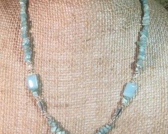 Handmade Genuine Amazonite Necklace, Silver Wire Wrapped Necklace, Silver Feather Necklace, Native American Necklace, Amazonite Pendant