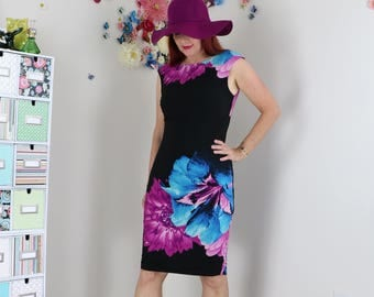 1990s Dress - Floral Dress - Oversized Graphic Floral Dress - Sleeveless - Black Magenta Blue - Body Con Sexy Bold Dress - Small/Medium